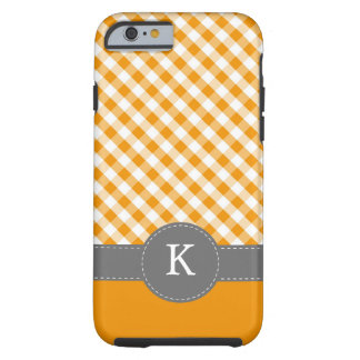 Orange Gingham Pattern Monogram Tough iPhone 6 Case