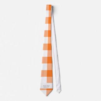 Orange gingham pattern wedding favors tie