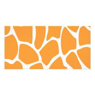 Orange Giraffe Print Pattern. Photo Card Template