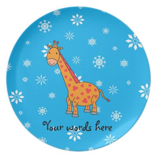 Orange giraffe sky blue white snowflakes pattern plate