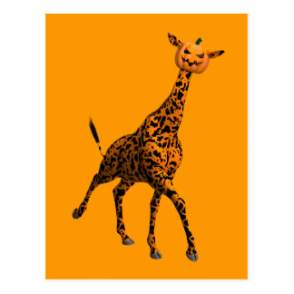 Orange Giraffe With Pumpkin Head Postcard