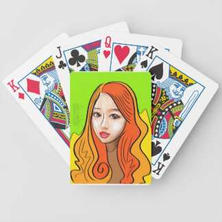 Orange Girl portrait concept Bicycle Playing Cards