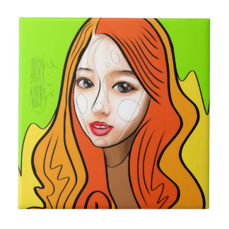 Orange Girl portrait concept Tile