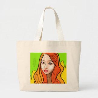 Orange girl portrait large tote bag