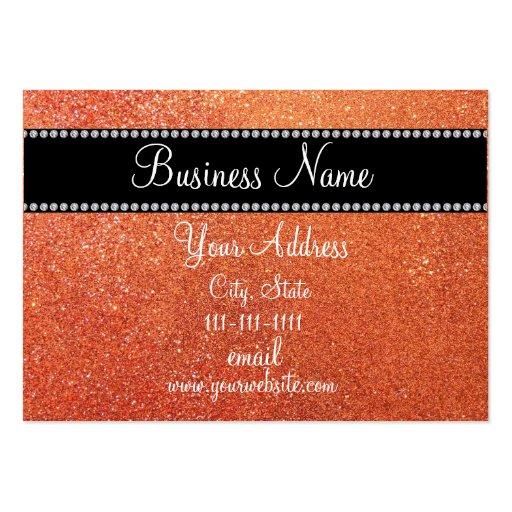 Orange glitter bling business card template