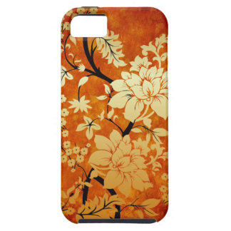 Orange, Gold and Black Floral Oriental Design iPhone 5 Cases