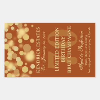 Orange Gold Champagne Bubbles Birthday Label 750ml