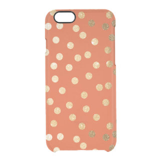 Orange Gold Glitter Dots Clear Phone Case