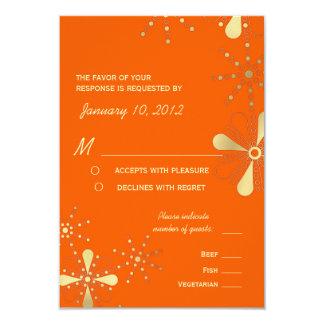 "Orange & Gold Indian Inspired RSVP Meal Options 3.5"" X 5"" Invitation Card"