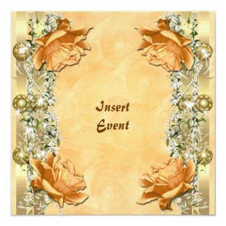 Orange gold wedding birthday engagement personalized announcement