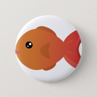 Orange Goldfish Cartoon 2 Inch Round Button