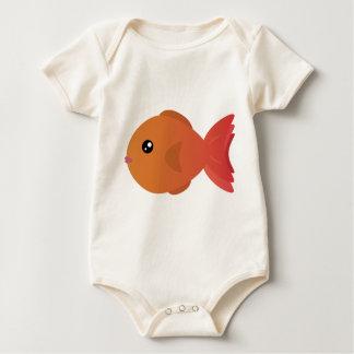 Orange Goldfish Cartoon Baby Bodysuit