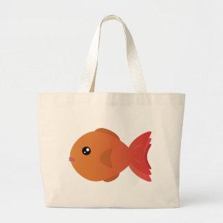 Orange Goldfish Cartoon Large Tote Bag