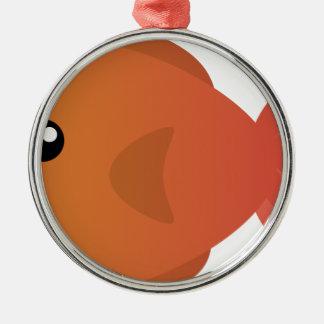 Orange Goldfish Cartoon Metal Ornament