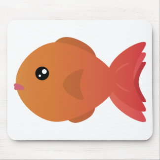 Orange Goldfish Cartoon Mouse Pad