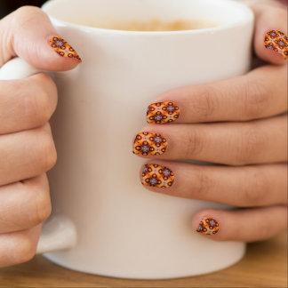 Orange Gradient Retro Mosaic Pattern Minx Nail Art