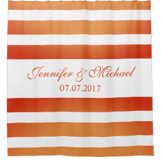 Orange Gradient Stripes Personalized Names Wedding
