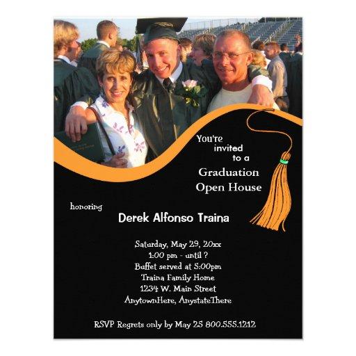 Orange Graduation Photo Open House Invitation
