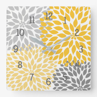 Orange Gray Dahlia Mums floral decor Square Wall Clock