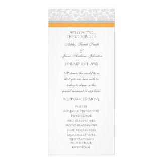 Orange Gray Damask Wedding Program Full Colour Rack Card