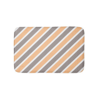 Orange Gray Diagonal Stripes Bath Mat