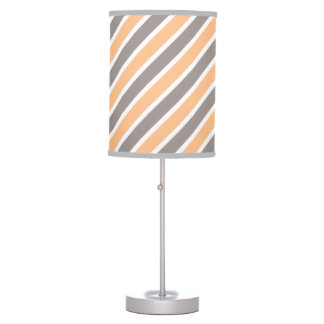 Orange Gray Diagonal Stripes Polyester Table Lamp