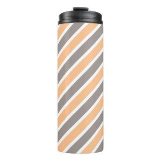 Orange Gray Diagonal Stripes Thermal Tumbler