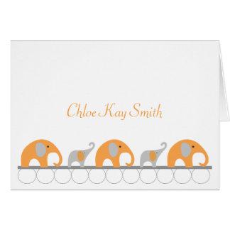 Orange Gray Elephant Baby Thank You Note w/photo Card
