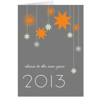 Orange gray modern star fireworks corporate logo card
