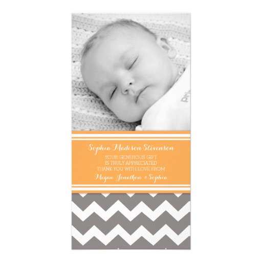 Orange Gray Thank You Baby Shower Photo Cards