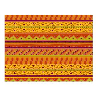Orange Green Abstract Aztec Tribal Print Pattern Postcard