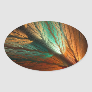 Orange & Green Abstract Fractal Oval Sticker