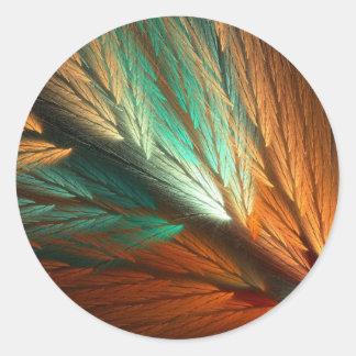 Orange & Green Abstract Fractal Round Sticker