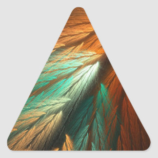 Orange & Green Abstract Fractal Triangle Sticker