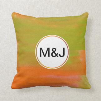 orange & green abstract watercolor & monogram throw pillow