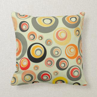 Orange, green and yellow circles throw pillow