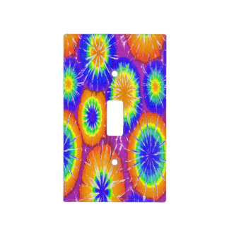 Orange green and yellow tie dye light switch cover