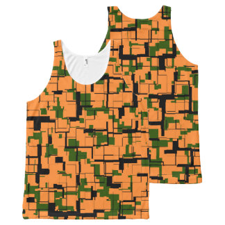 Orange Green Black Digital Camo Pattern All-Over-Print Tank Top
