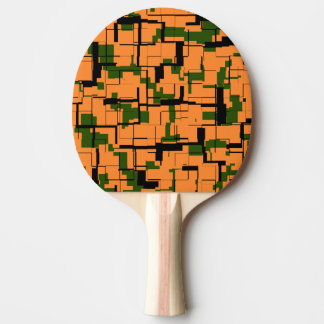 Orange Green Black Digital Camo Pattern Ping Pong Paddle