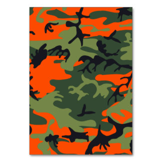 Orange Green Camouflage Table Cards