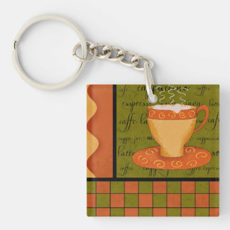 Orange Green Coffee Art Checkerboard Customizable Double-Sided Square Acrylic Keychain
