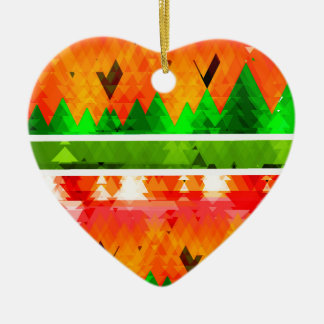 Orange Green Fall themed Wallpaper Ceramic Ornament