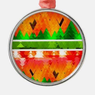 Orange Green Fall themed Wallpaper Metal Ornament