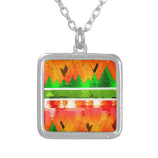 Orange Green Fall themed Wallpaper Silver Plated Necklace