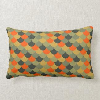 Orange & Green Fish Scale Pattern Lumbar Pillow