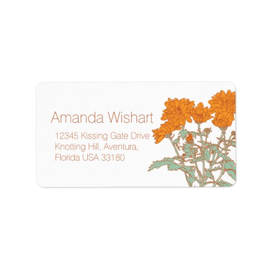 Orange green flower wedding reply address label