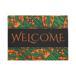 Orange Green Gecko Lizard Pattern Welcome Doormat