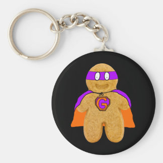 orange green gingerbread man super hero key-chain key chains