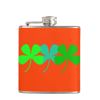 Orange Green Hues Four Leaf Clovers 4Ann-Marie Hip Flask
