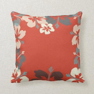 Orange, Green & Ivory Hibiscus Floral Throw Pillow